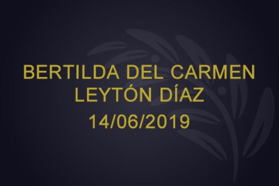 Bertilda del Carmen Leytón de Díaz – 14/06/2019